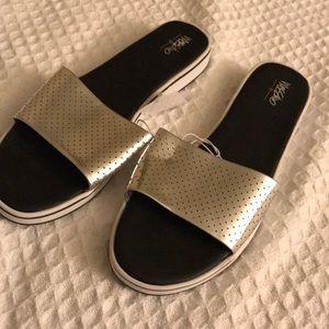 Metallic Silver Slide Sandals